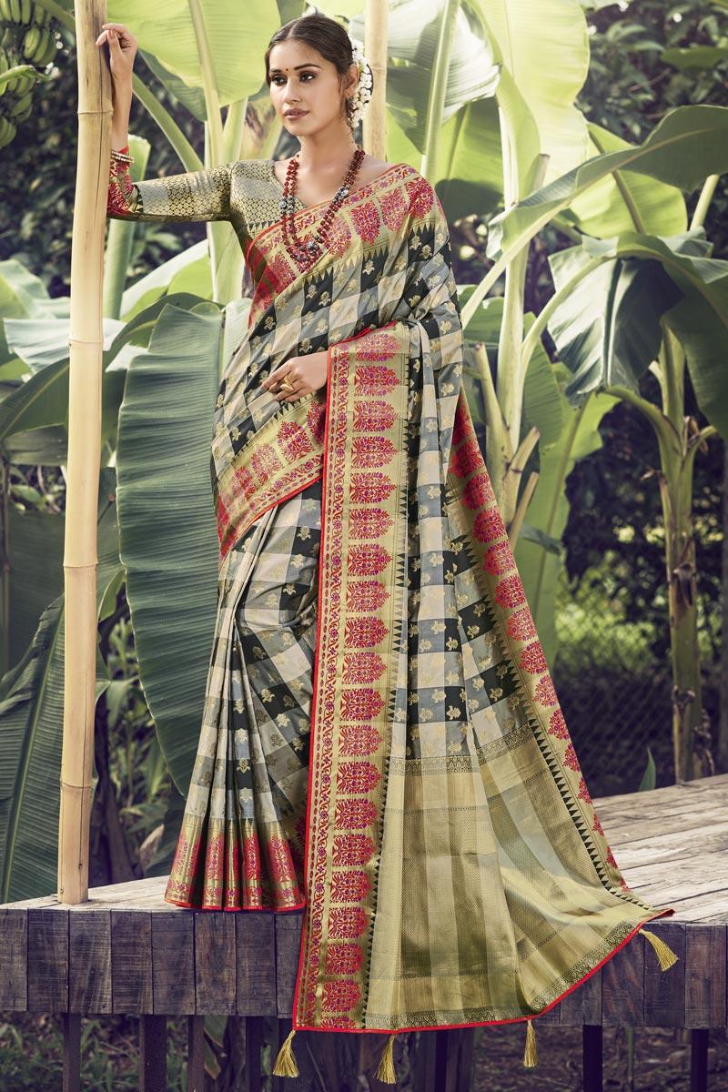 Festive Wear Beige Color Art Silk Fabric Weaving Work Saree