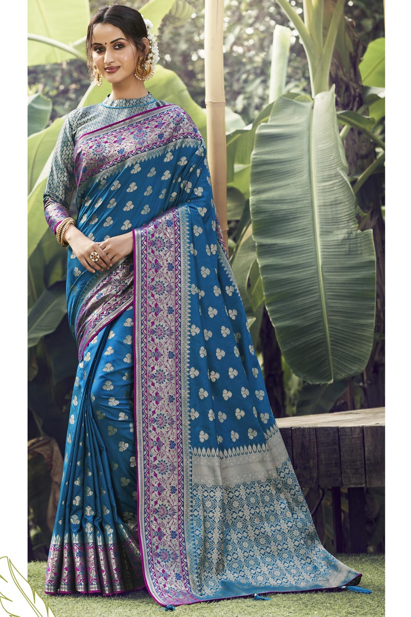 Party Wear Art Silk Fabric Weaving Work Saree In Teal Color