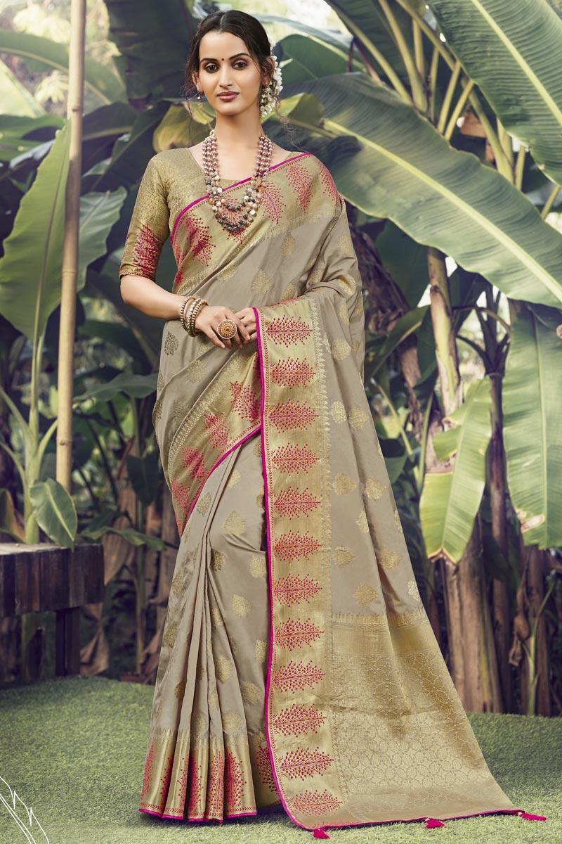 Art Silk Fabric Sangeet Wear Cream Color Weaving Work Saree