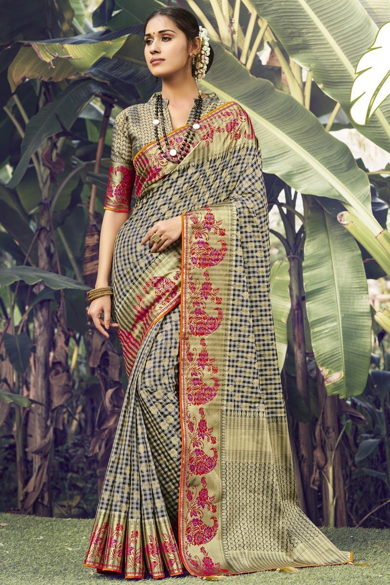 Art Silk Fabric Wedding Wear Dark Beige Color Weaving Work Saree