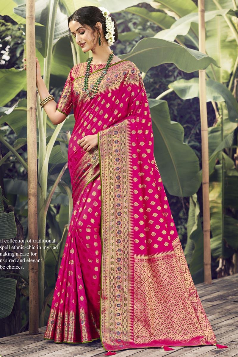 Rani Color Wedding Wear Art Silk Fabric Weaving Work Saree