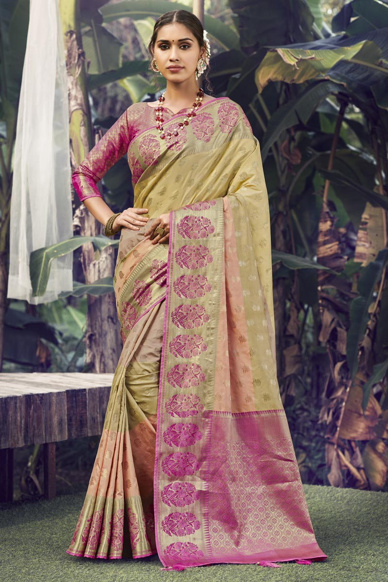 Reception Wear Beige Color Weaving Work Saree