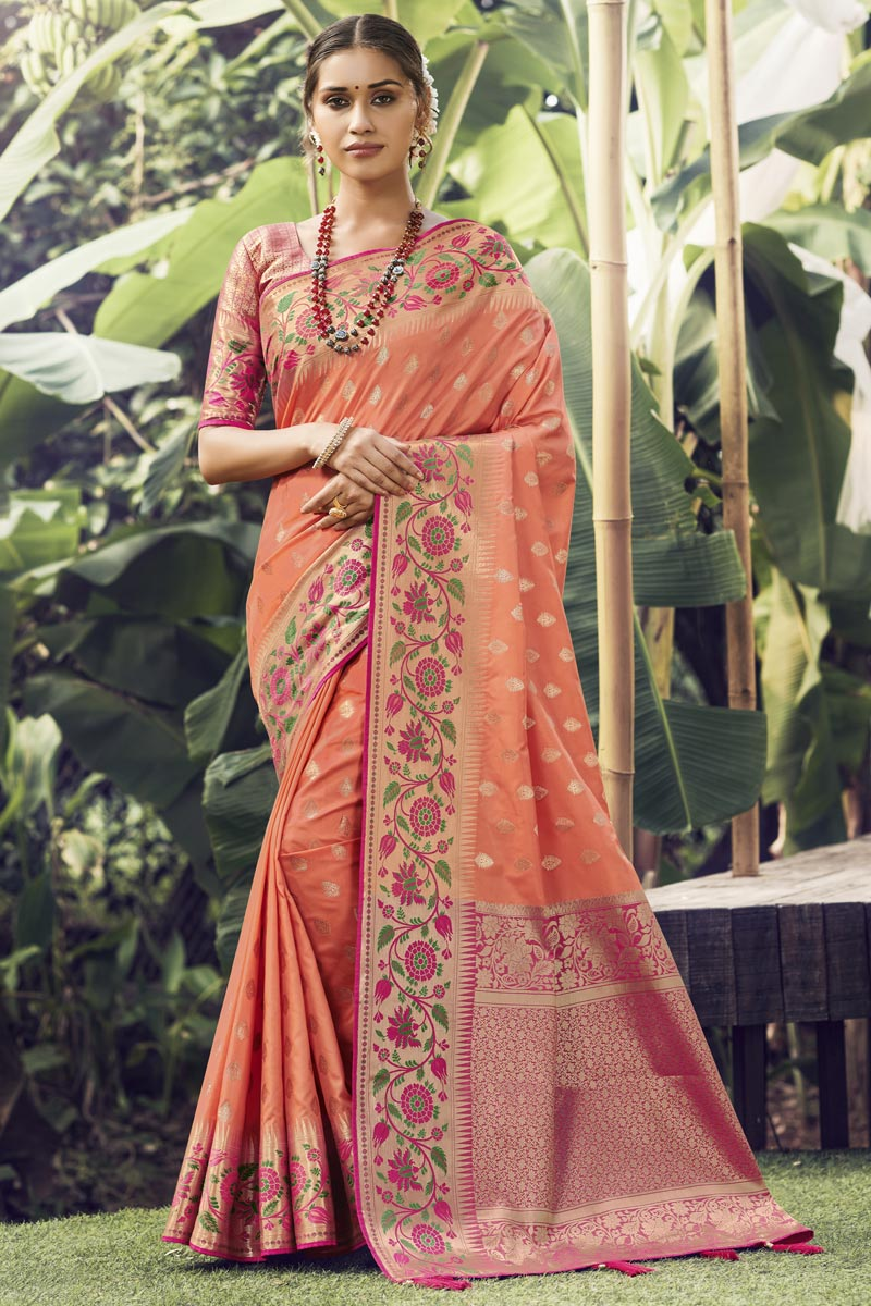 Reception Wear Peach Color Art Silk Fabric Weaving Work Saree