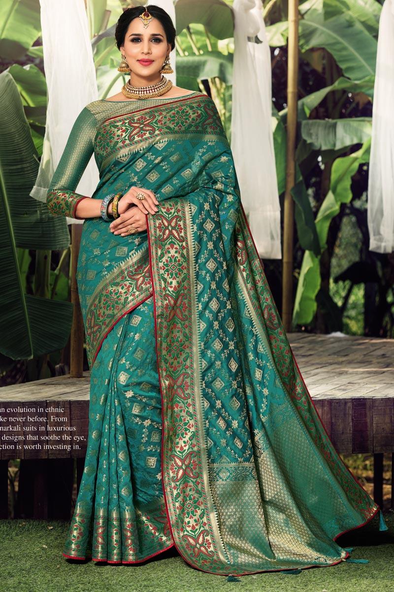 Teal Color Art Silk Fabric Weaving Work Saree