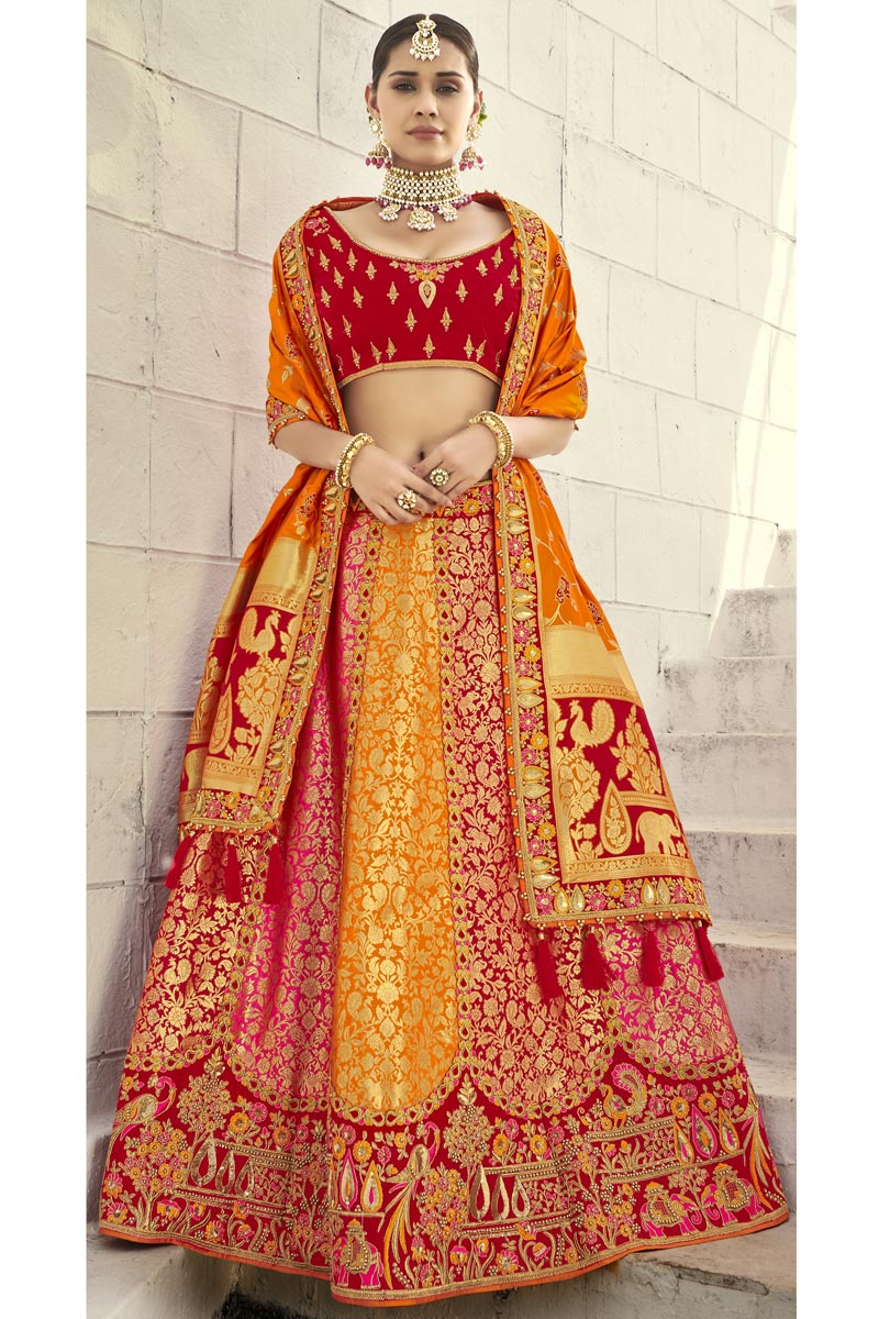Silk Fabric Wedding Wear 3 Piece Lehenga
