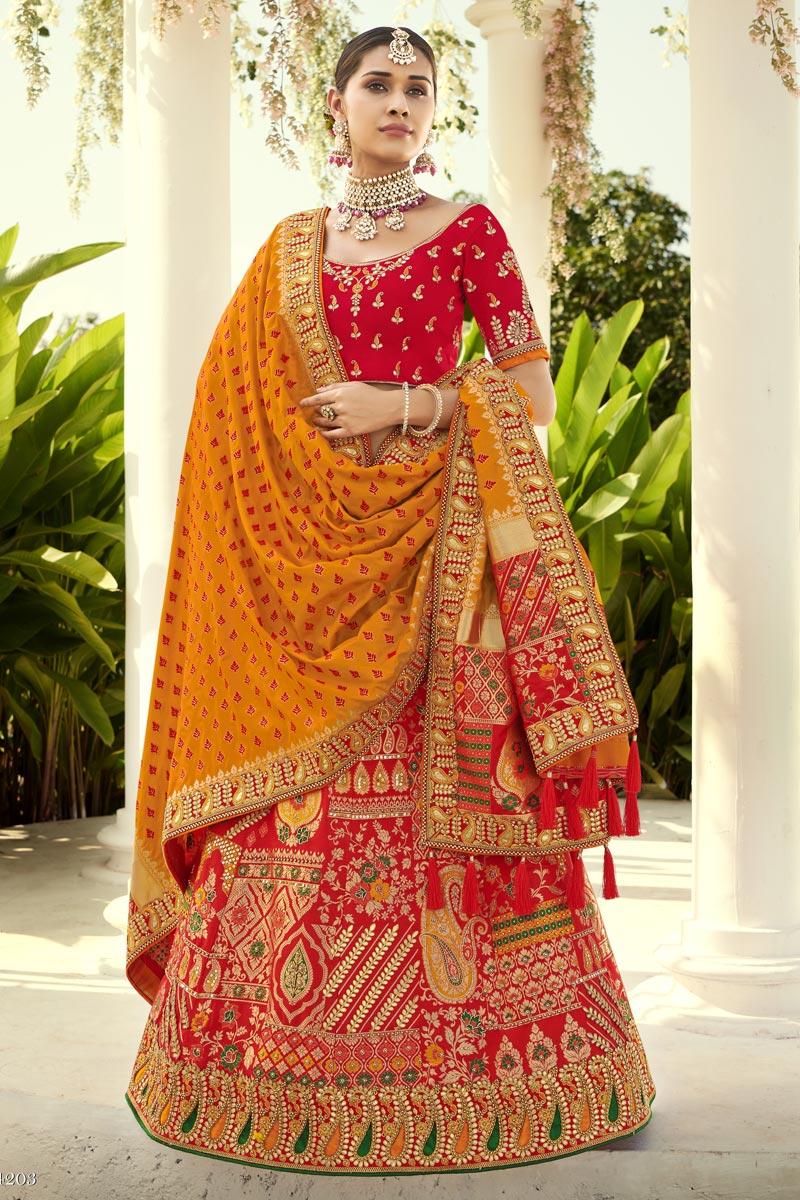 Red Color Silk Fabric Reception Wear Lehenga Choli