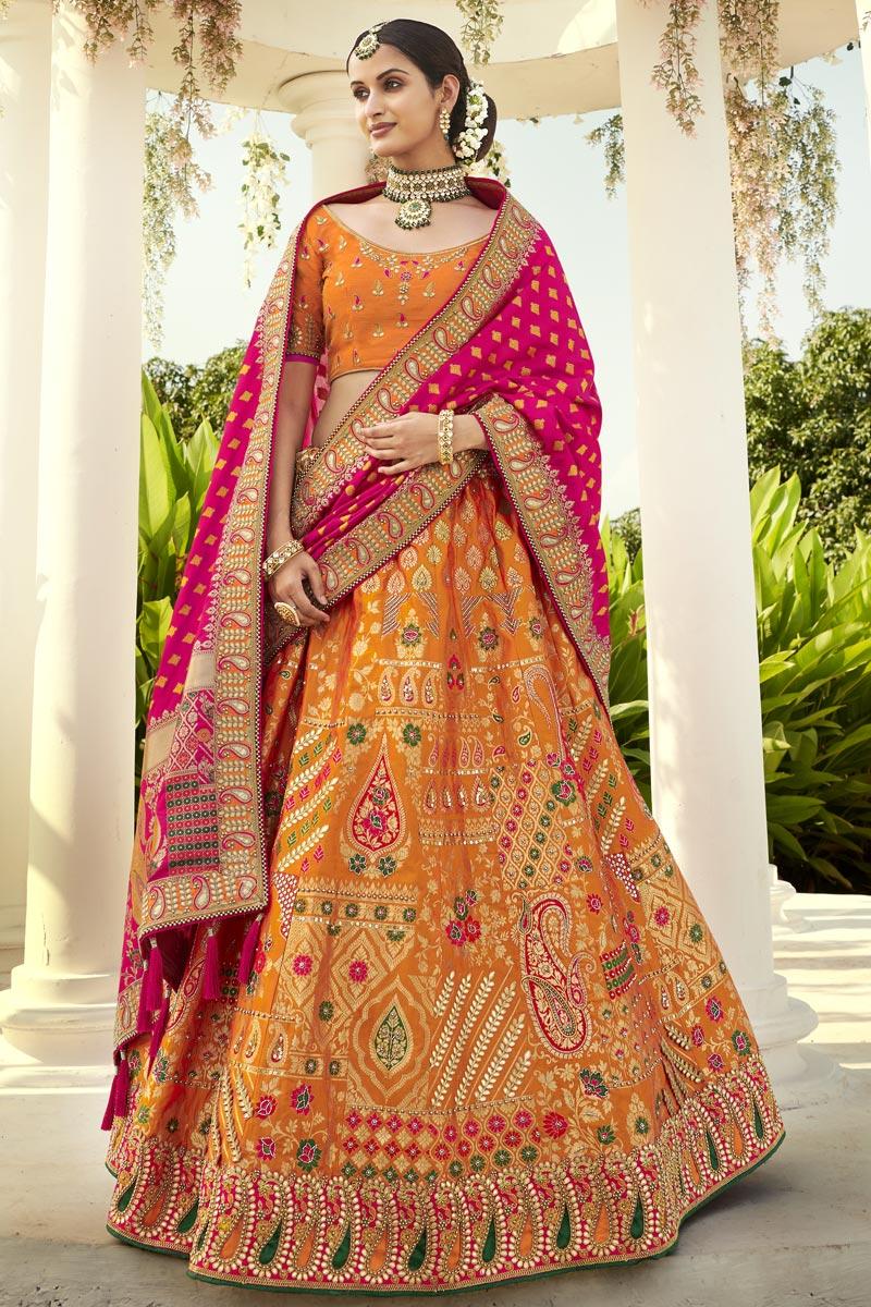 Silk Fabric Orange Color Wedding Wear 3 Piece Lehenga Choli