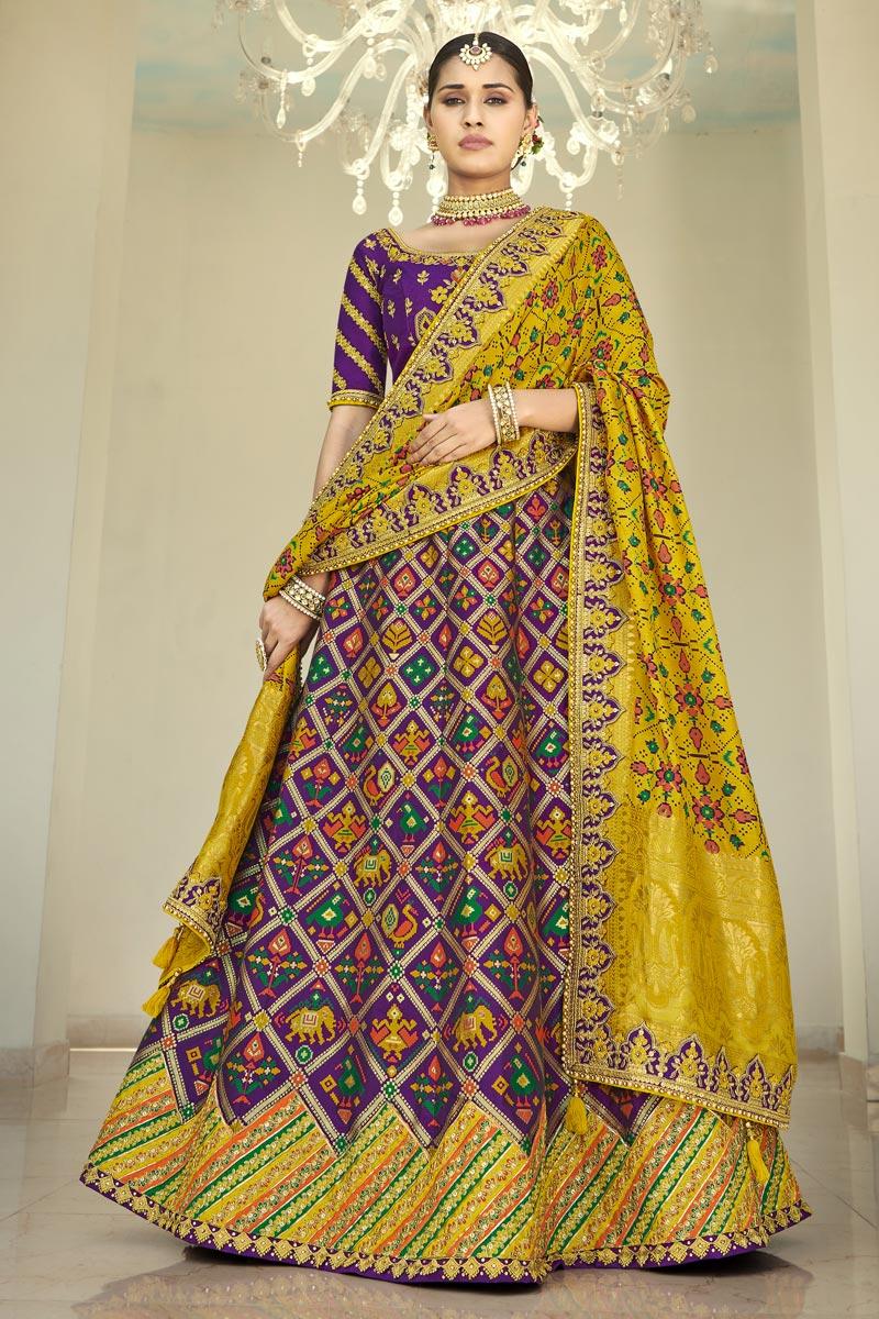 Fancy Silk Fabric Sangeet Wear Lehenga