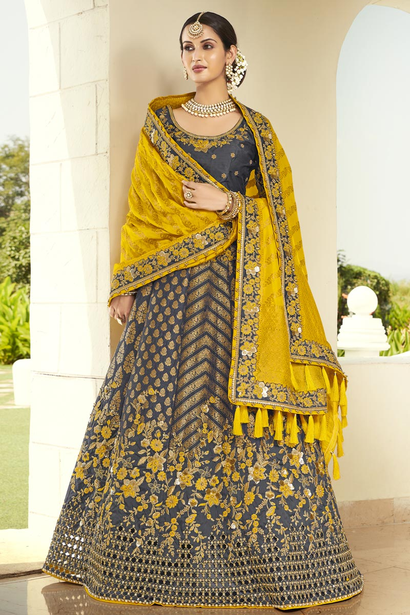 Embroidery Work Silk Fabric Reception Wear Designer Lehenga