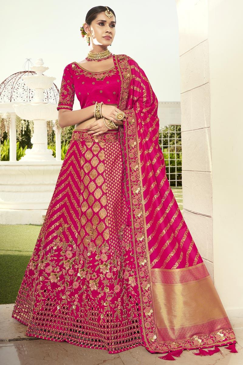 Silk Fabric Embroidered Rani Color Designer 3 Piece Lehenga Choli