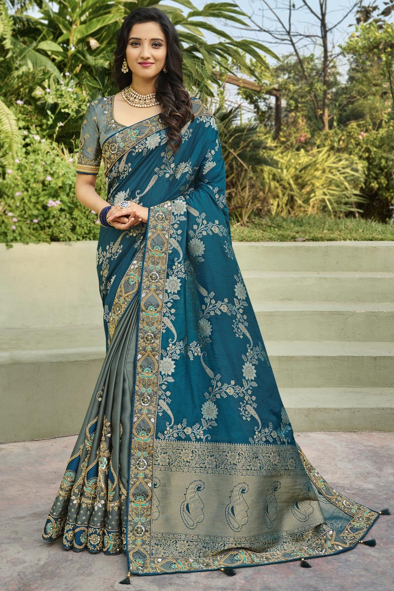 Function Wear Silk Fabric Classy Weaving Work Saree In Teal Color