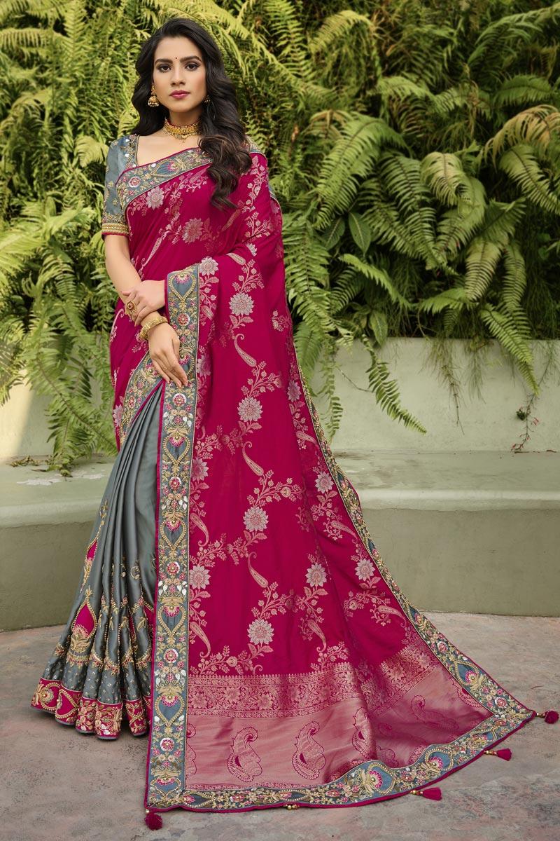 Function Wear Rani Color Classy Silk Fabric Weaving Work Saree