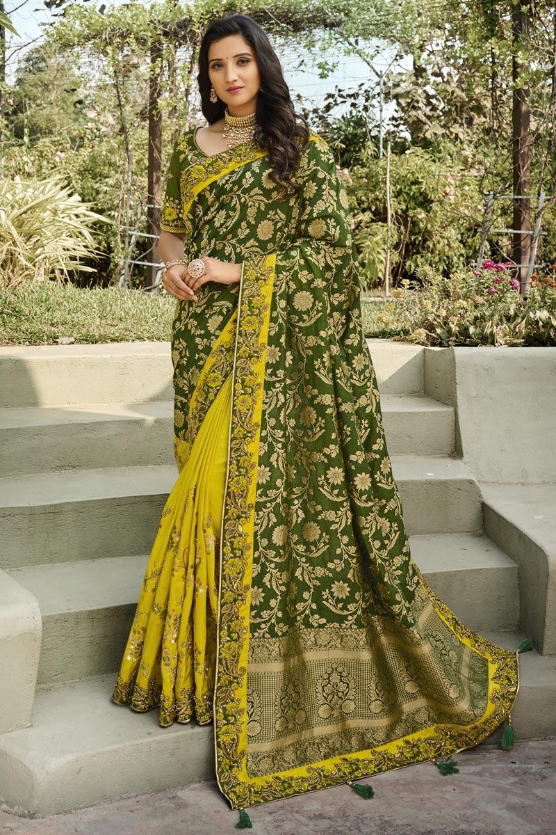 Silk Fabric Classy Function Wear Dark Green Color Weaving Work Saree