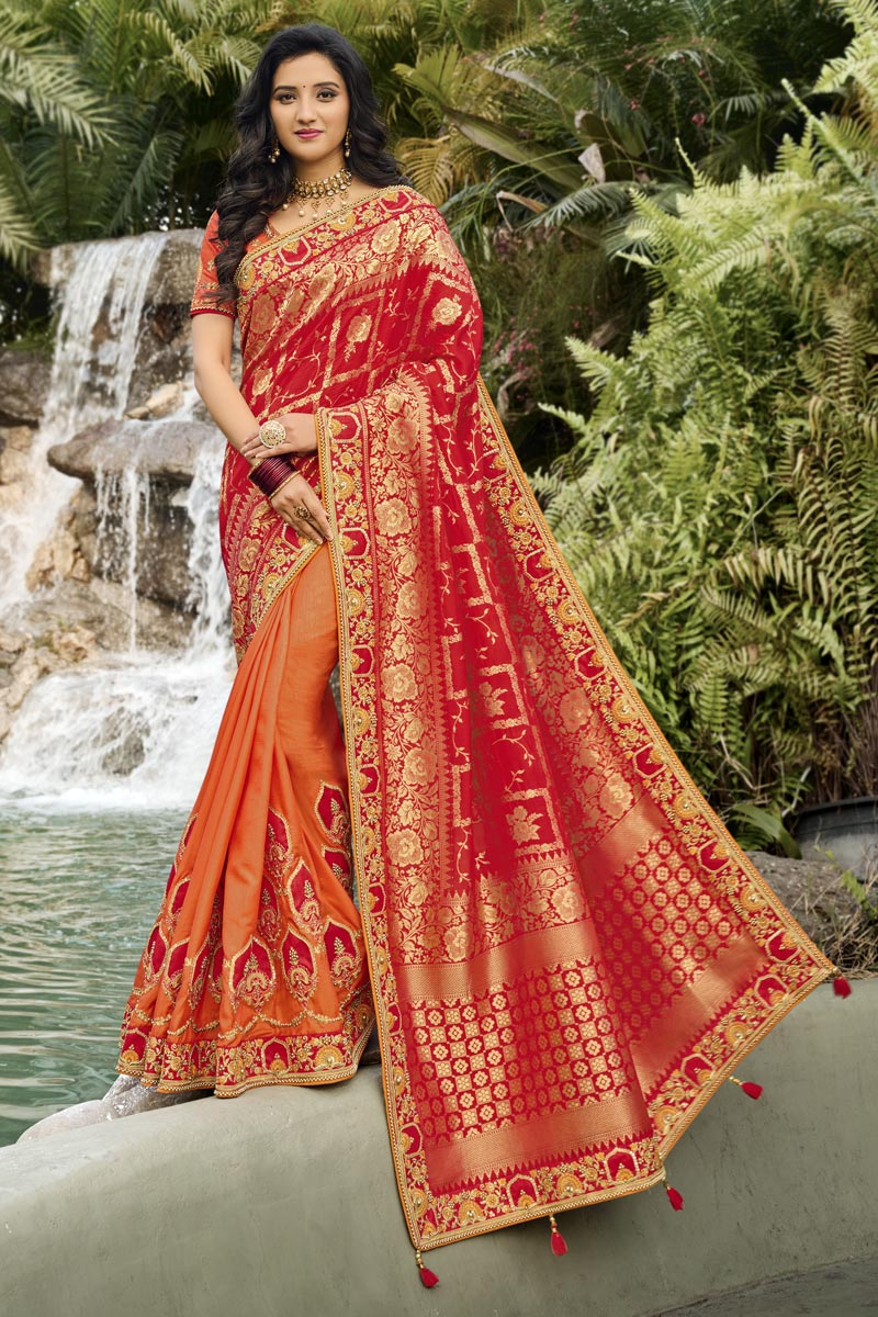 Function Wear Classy Silk Fabric Red Color Weaving Work Saree