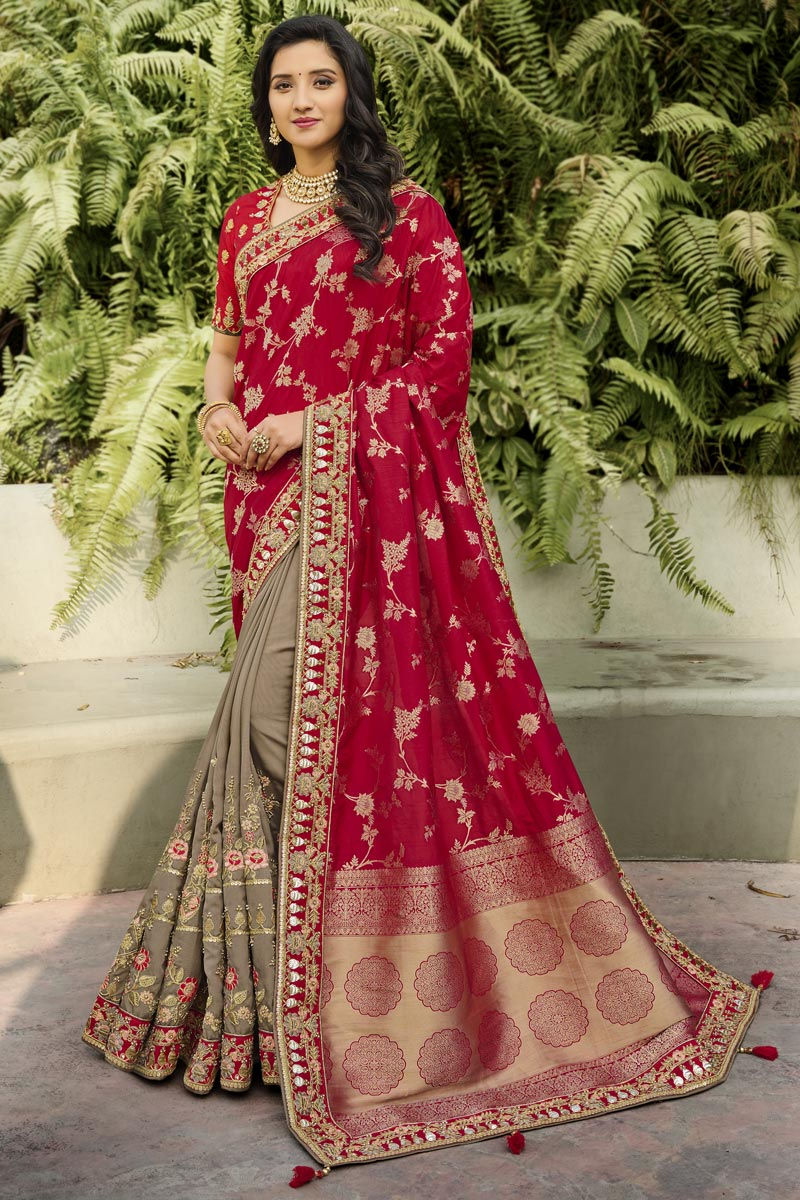 Silk Fabric Classy Function Wear Red Color Weaving Work Saree