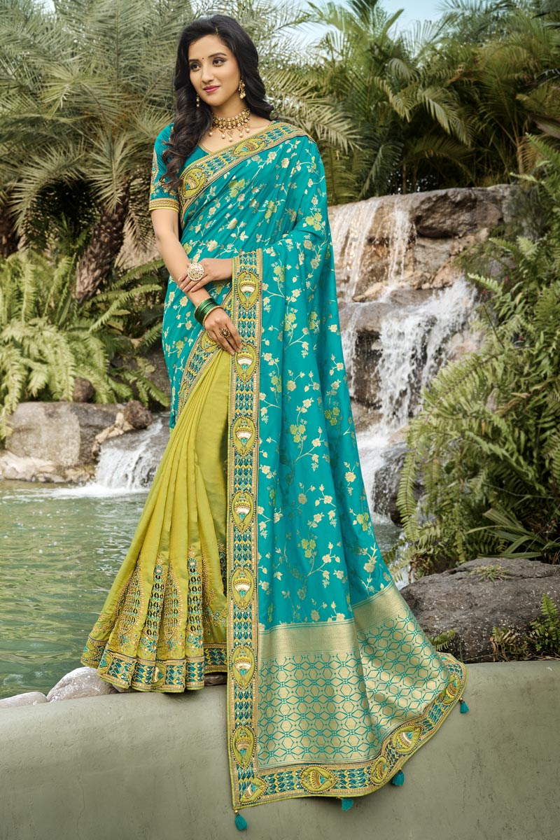 Function Wear Silk Fabric Classy Cyan Color Weaving Work Saree