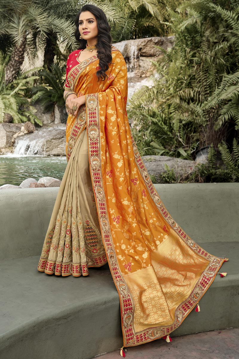 Function Wear Orange Color Classy Weaving Work Saree In Silk Fabric