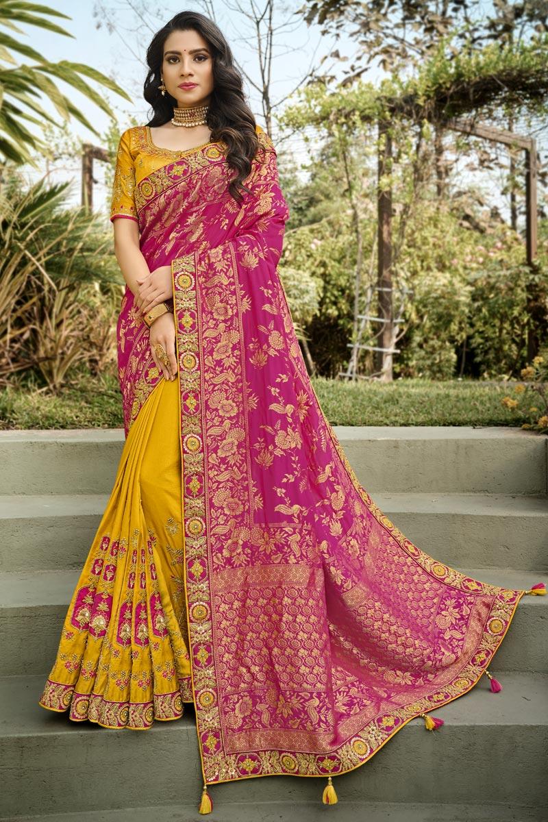 Function Wear Silk Fabric Classy Rani Color Weaving Work Saree