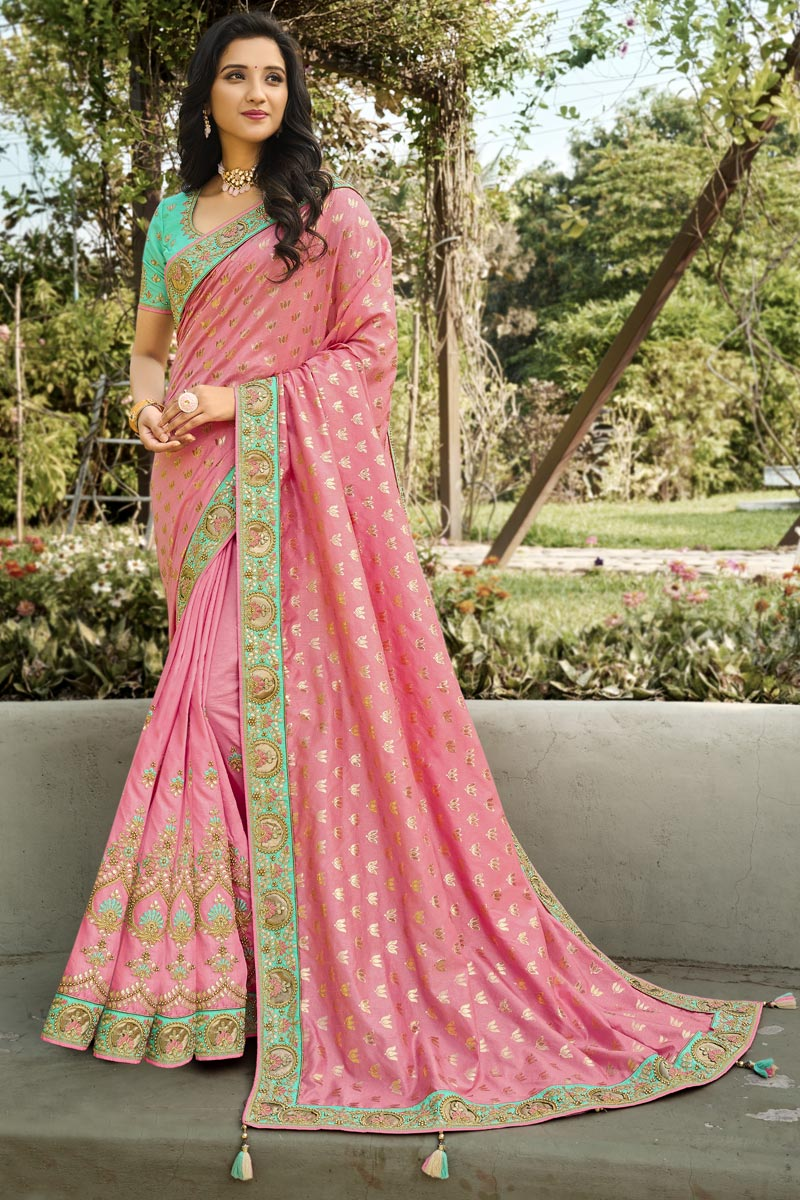 Function Wear Pink Color Classy Weaving Work Saree In Silk Fabric
