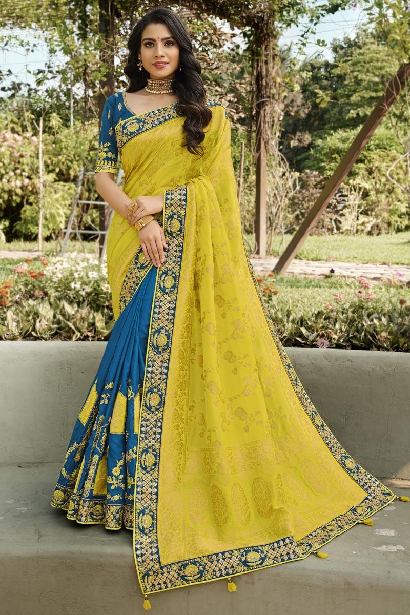 Yellow Color Function Wear Silk Fabric Classy Weaving Work Saree