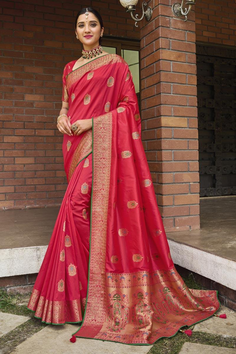 Pink Color Art Silk Fabric Weaving Work Puja Wear Fancy Saree