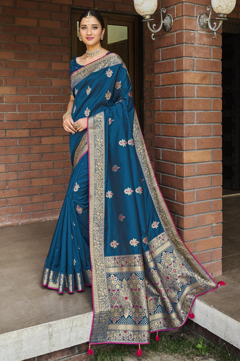 Art Silk Fabric Teal Color Weaving Work Function Wear Trendy Saree