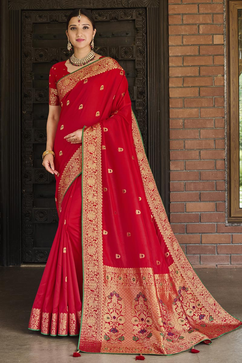 Weaving Work Red Color Art Silk Fabric Festive Wear Stylish Saree
