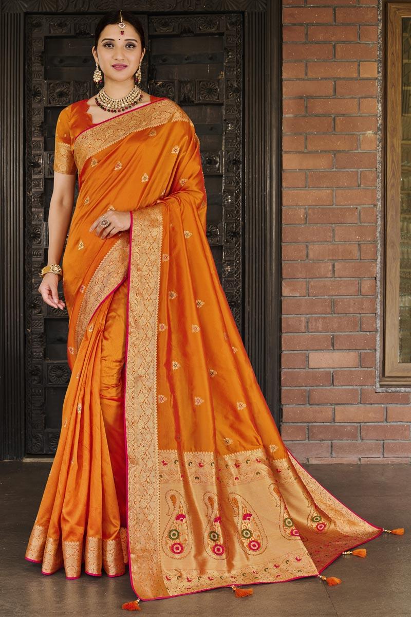 Party Wear Orange Color Art Silk Fabric Weaving Work Designer Saree