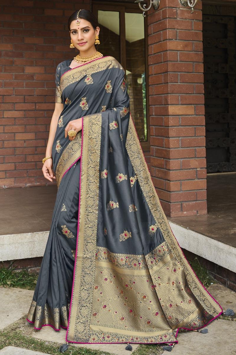 Grey Color Art Silk Fabric Puja Wear Weaving Work Designer Saree
