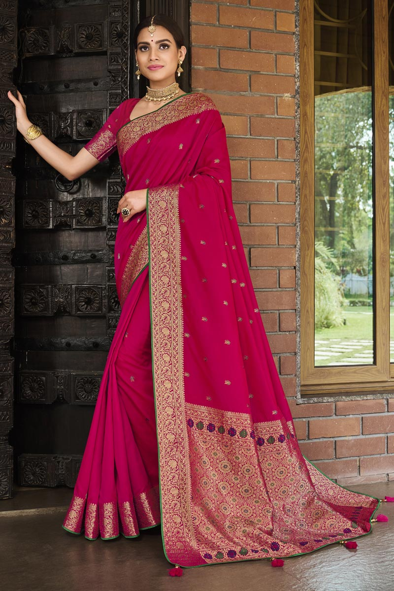 Rani Color Weaving Work Reception Wear Stylish Saree In Art Silk Fabric