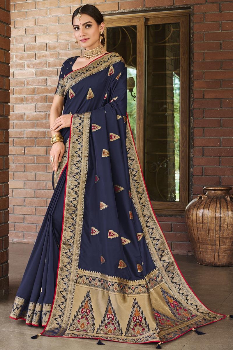 Art Silk Fabric Navy Blue Color Weaving Work Function Wear Trendy Saree