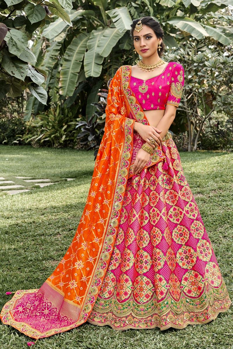 Silk Fabric Function Wear Rani Color Weaving Work Lehenga