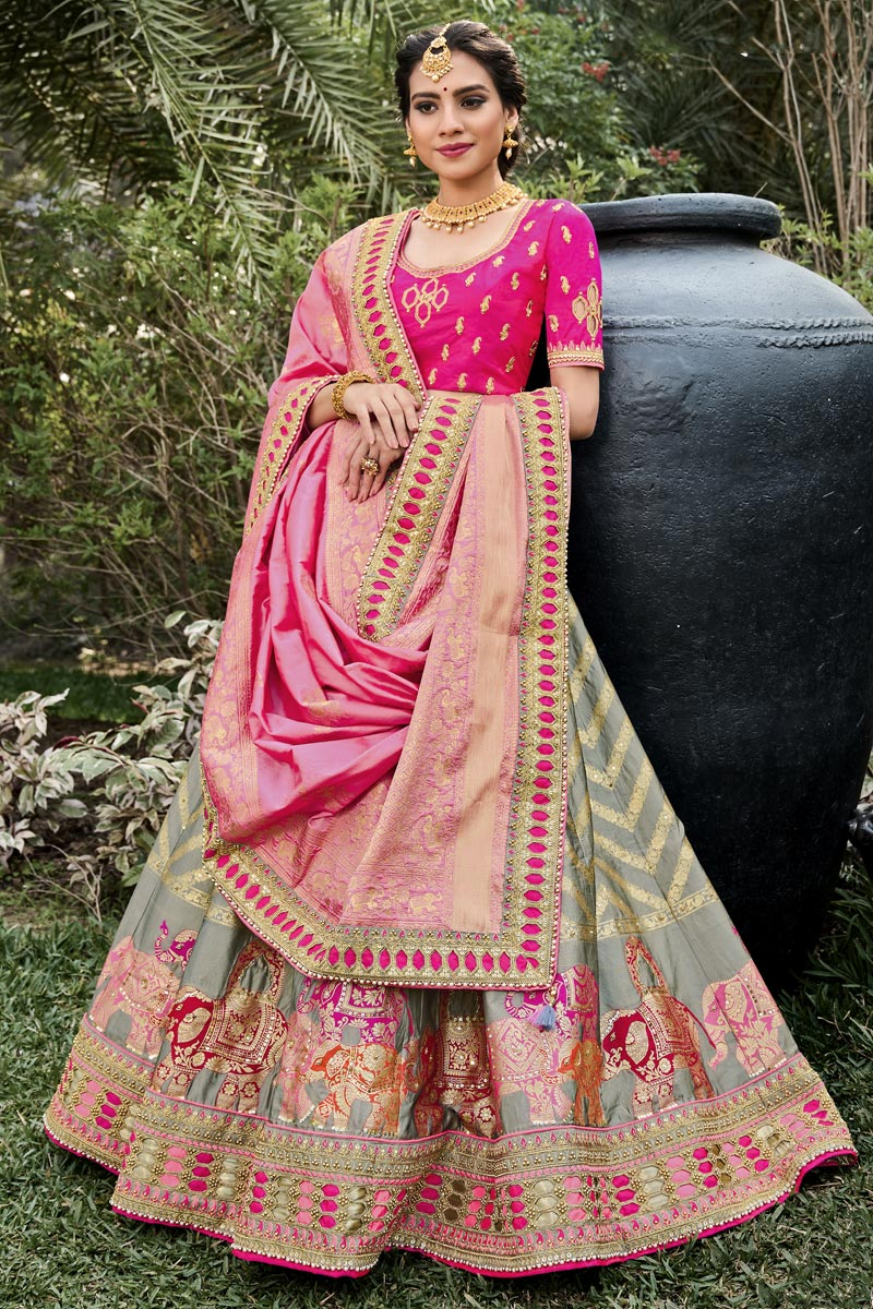 Function Wear Grey Color Weaving Work Silk Fabric Lehenga Choli