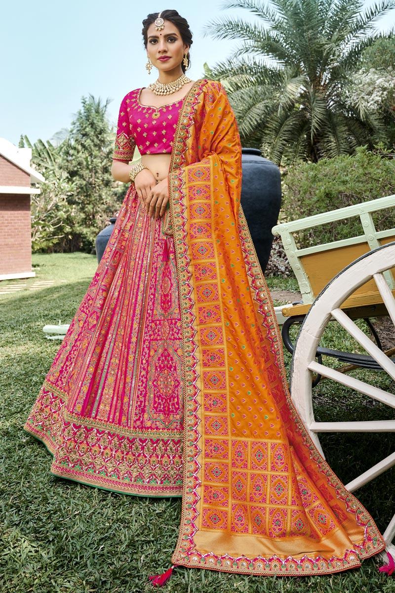 Rani Color Function Wear Weaving Work Silk Fabric Lehenga