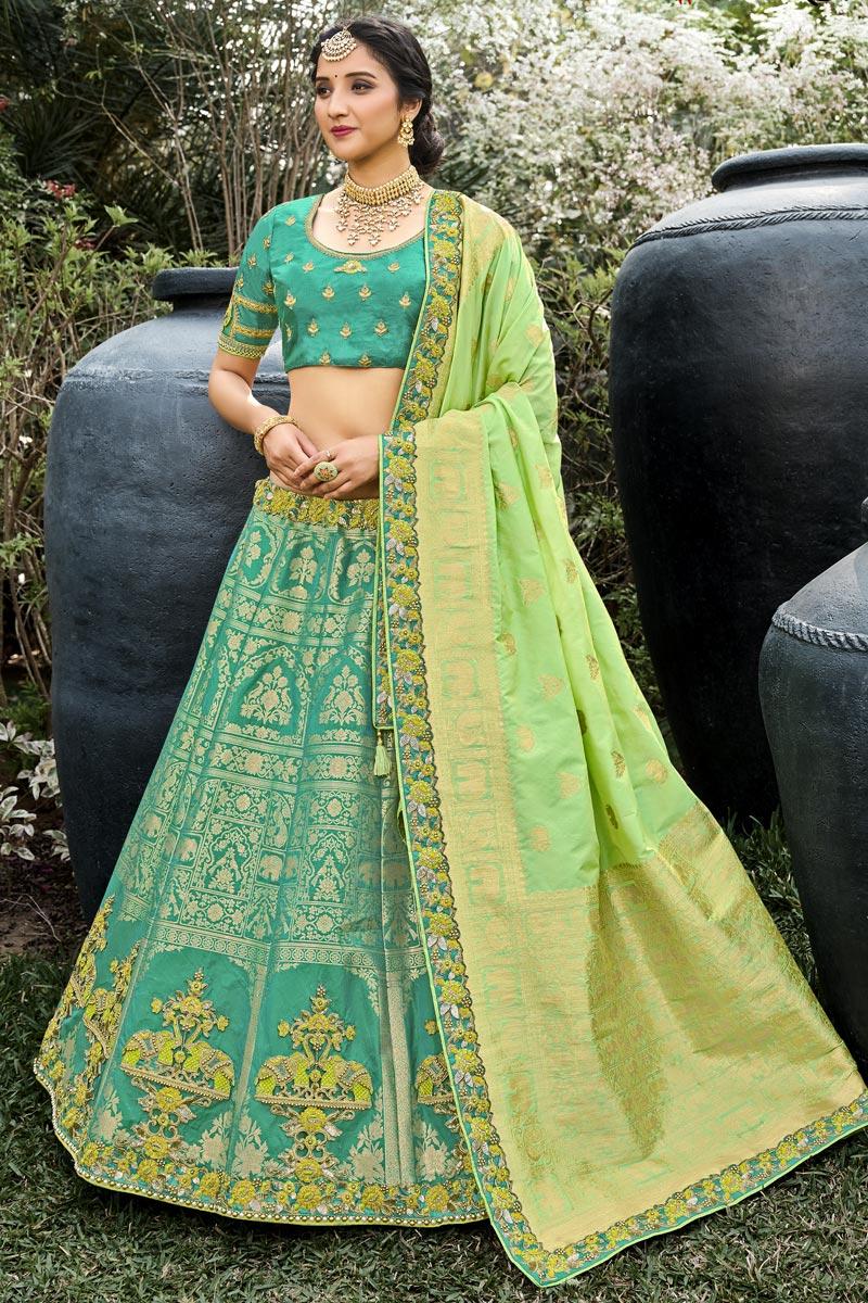 Sea Green Color Function Wear Weaving Work Lehenga In Silk Fabric
