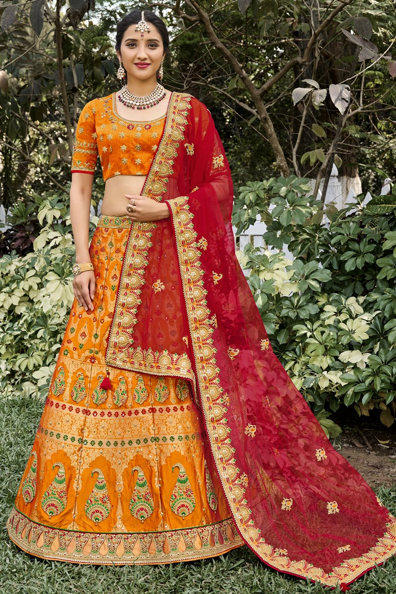 Function Wear Silk Fabric Weaving Work Orange Color Lehenga Choli