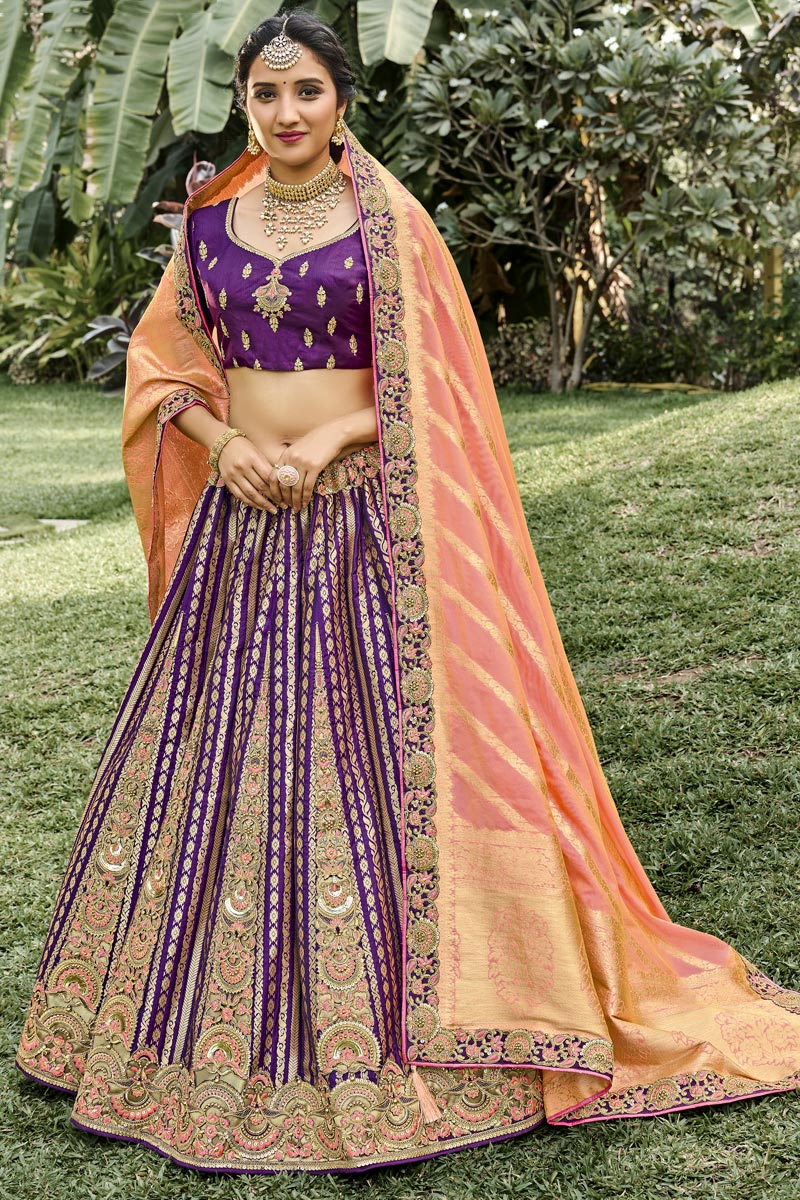 Silk Fabric Function Wear Weaving Work Purple Color Lehenga