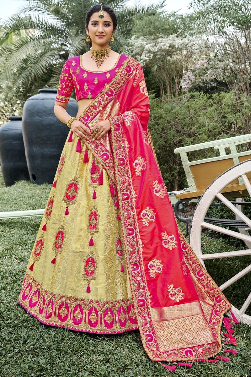 Function Wear Beige Color Silk Fabric Weaving Work Lehenga Choli