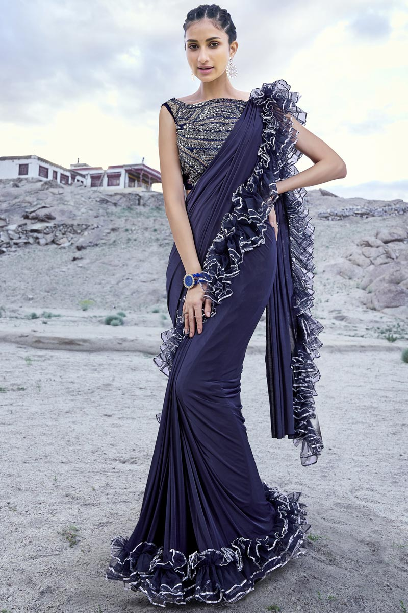 Fancy Fabric Trendy Navy Blue Function Wear Ruffle Frill Saree