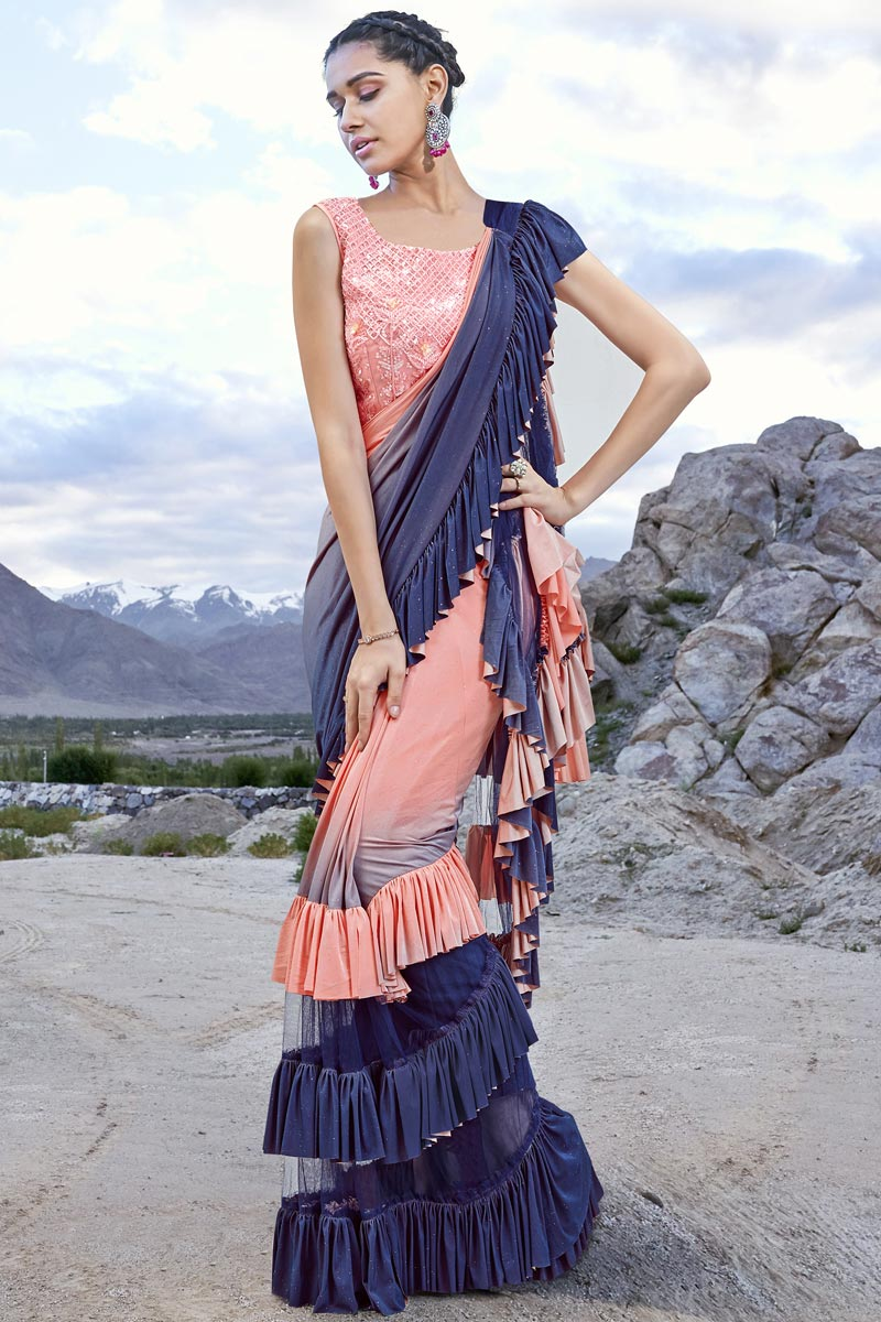 Fancy Fabric Trendy Function Wear Peach Ruffle Frill Saree