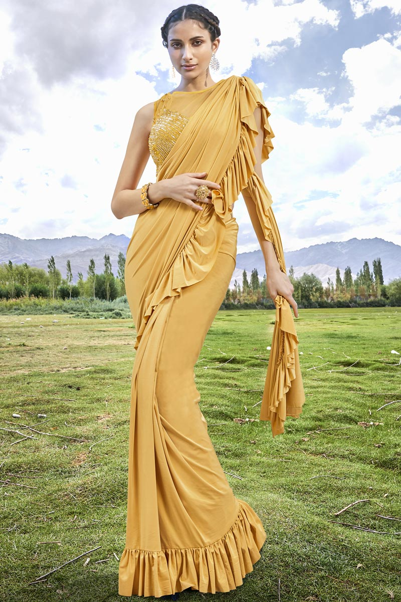 Eid Special Trendy Function Wear Fancy Fabric Yellow Ruffle Frill Saree