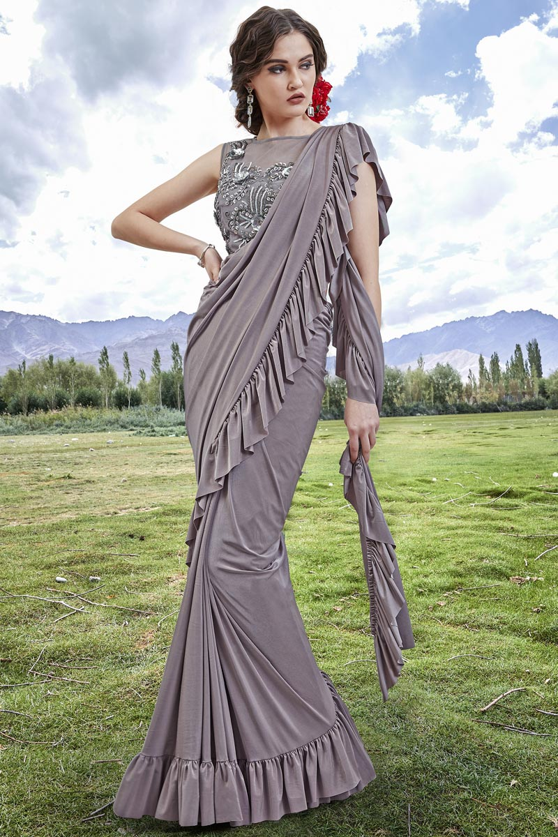 Buy Grey Trendy Fancy Fabric Function Wear Ruffle Frill Saree Online 116ths5