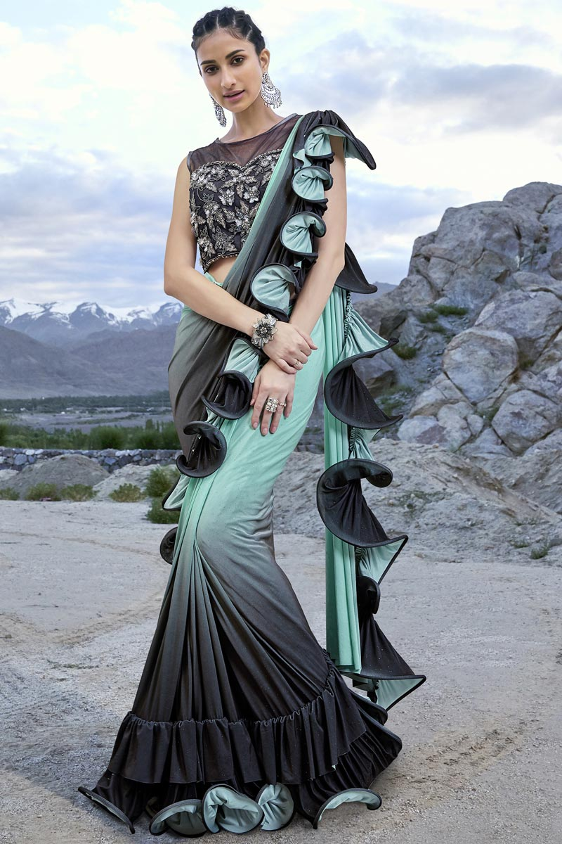 Buy Trendy Fancy Fabric Function Wear Sea Green Ruffle Frill Saree Online 116ths6