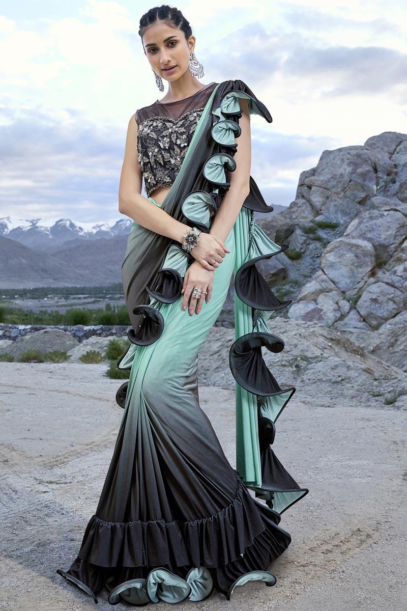 Function Wear Trendy Sea Green Ruffle Frill Saree In Fancy Fabric