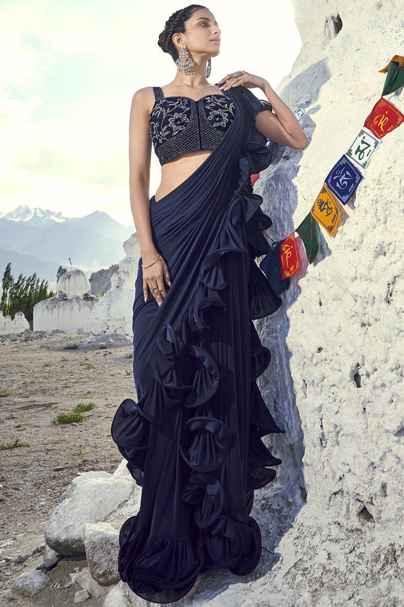 Navy Blue Trendy Fancy Fabric Function Wear Ruffle Frill Saree