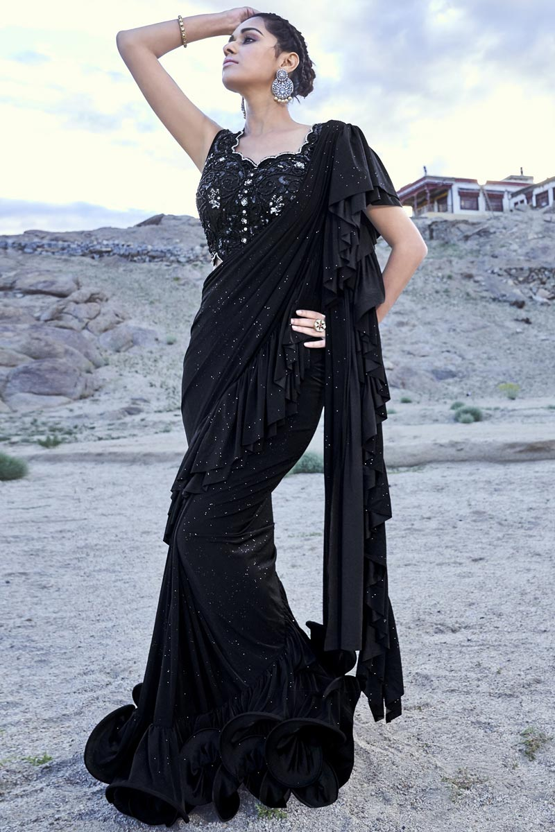Trendy Function Wear Black Fancy Fabric Ruffle Frill Saree