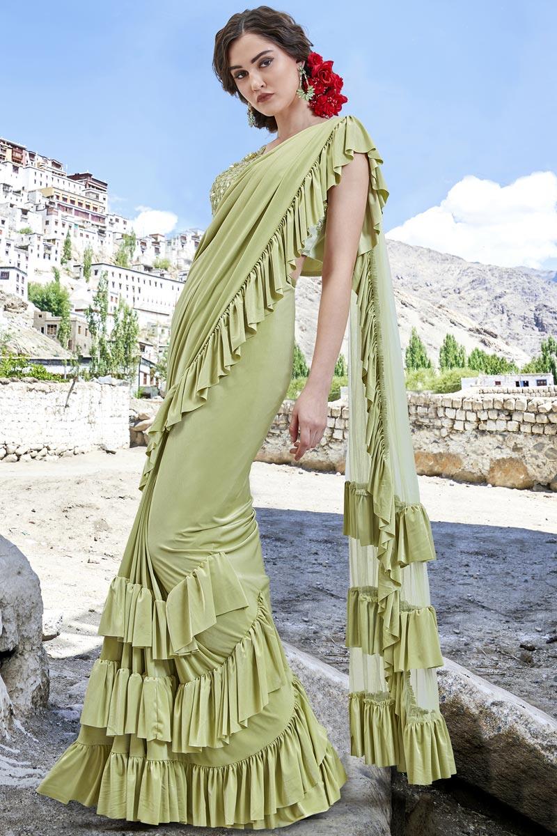 Sea Green Trendy Function Wear Fancy Fabric Ruffle Frill Saree