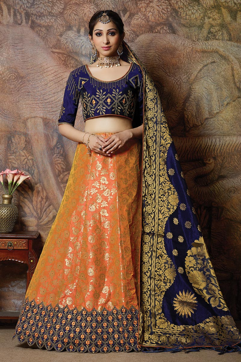 Orange Wedding Wear 3 Piece Lehenga In Art Silk Fabric With Fancy Dupatta