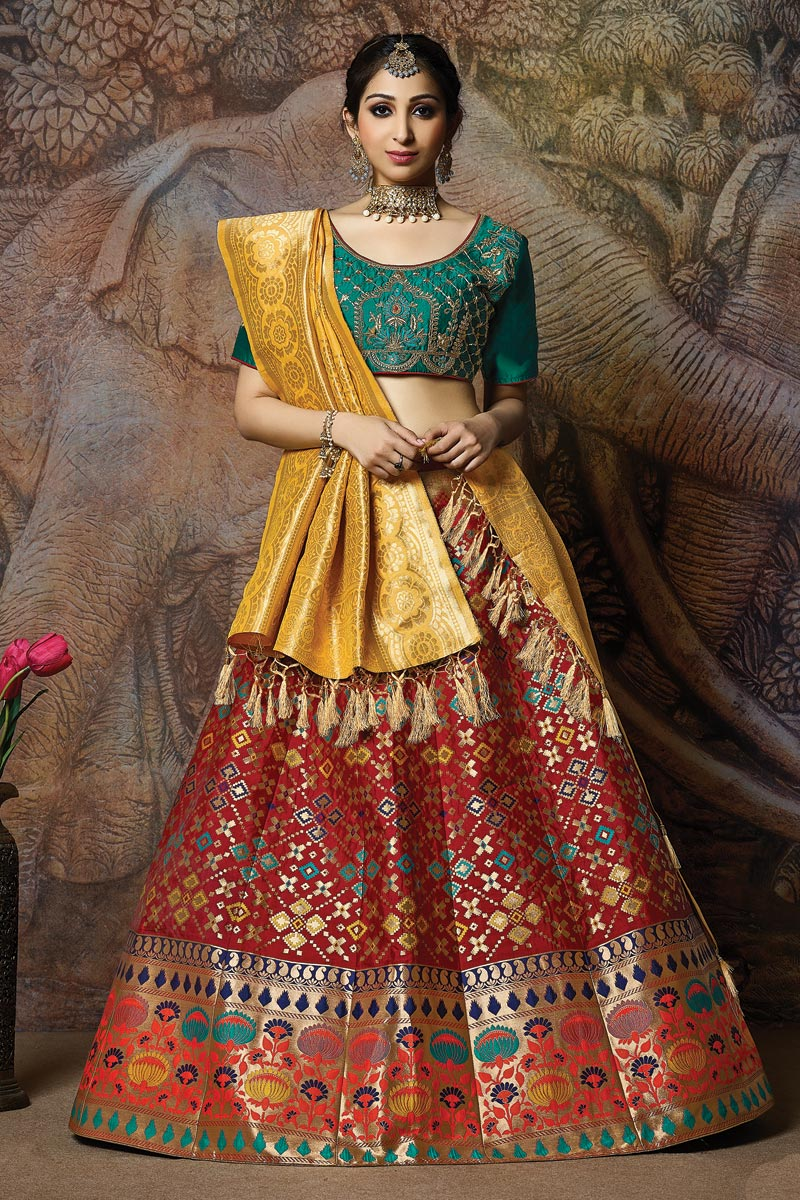 Weaving Work On Wedding Wear Bridal Lehenga In Art Silk Fabric Red With Fancy Dupatta