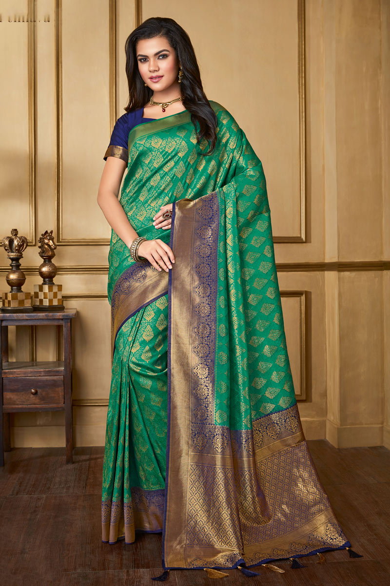 Weaving Work On Art Silk Fabric Dark Green Color Designer Saree